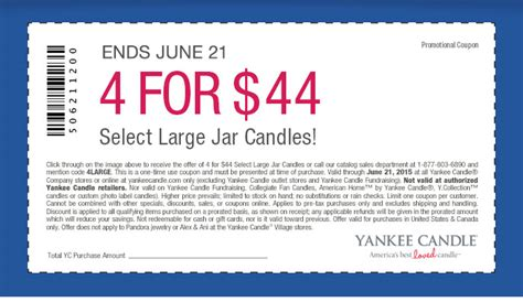 printable coupons for yankee candle 2015 yankee candle 4 large candles for only 44 expires june