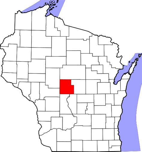 Wood County Property Records File Map Of Wisconsin Highlighting Wood County Svg