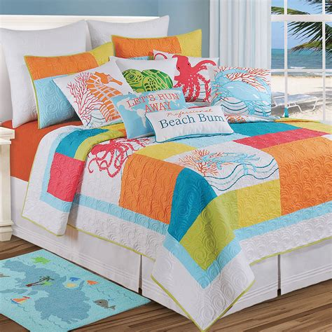 beachy bedding tropic escape bright coastal beach quilt bedding