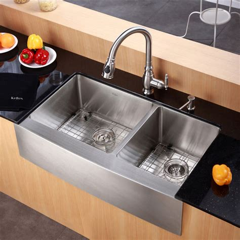 Kitchen Sinks Pictures Kraus Farmhouse 60 40 Bowl 16 Stainless Steel Kitchen Sink Kitchensource