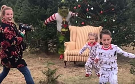 viral video grinch appearance  photoshoot sends kids running  screaming big