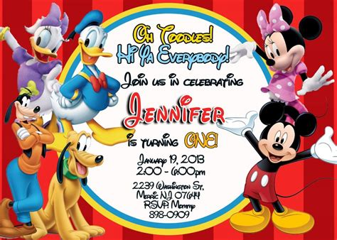 mickey mouse clubhouse templates mickey mouse birthday invitations templates drevio