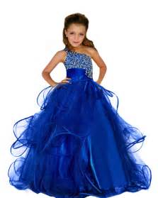 Gorgeous first communion dress royal blue one shoulder beading crystal