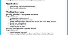 Bartender Resume Exles by Excellent Ways To Make Great Bartender Resume