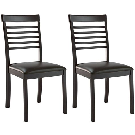 Black Ladder Back Dining Chairs Corliving Dining Collection Ladder Back Dining Chairs In Chocolate Black Bonded Leather Set Of