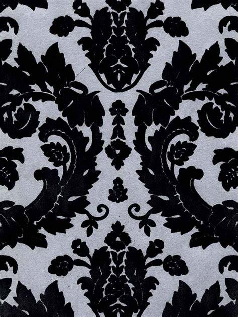 black victorian pattern victorian flocked velvet wallpaper black on silver flk