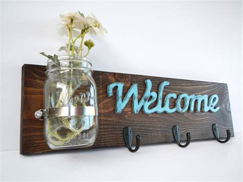 shabby chic welcome handmade hat key rack for storage