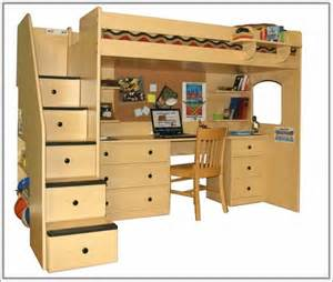 bunk beds with desk and stairs home design ideas