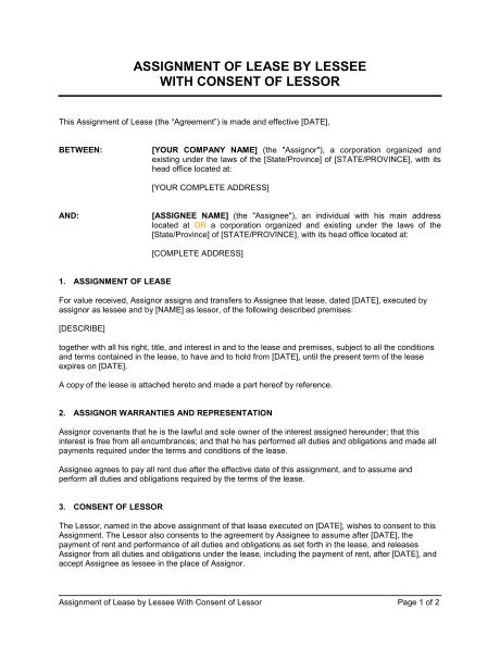 assignment of lease template assignment of lease by lessee with consent of lessor