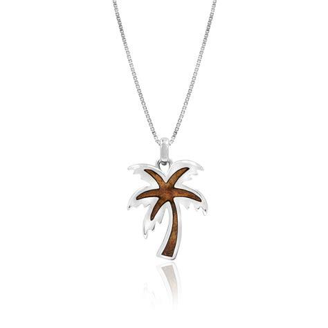 Tree Friendly Pendant Necklace by Sterling Silver Koa Wood Palm Tree Pendant