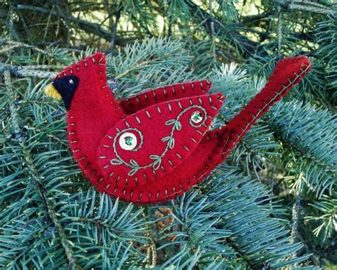 unique red cardinal christmas ornaments wool felt cardinal ornament northern cardinal bird wool felt bird ornament wool