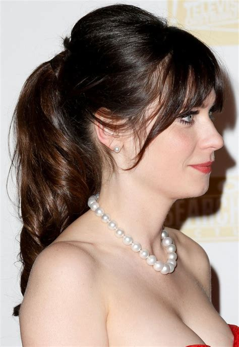 zooey deschanel long hairstyle ponytail pretty designs
