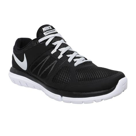 nike flex run s shoes black white