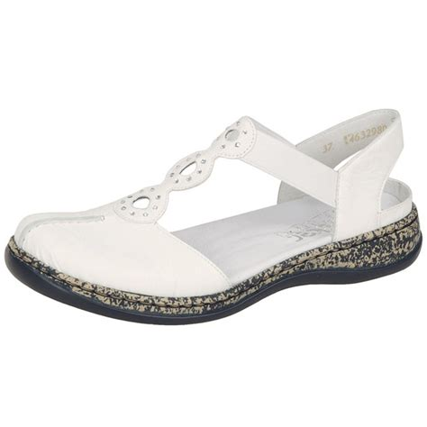 white sandals rieker snowdrop c closed toe sandals in white