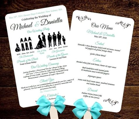 free wedding fan templates silhouette wedding program template fan menu diy choose