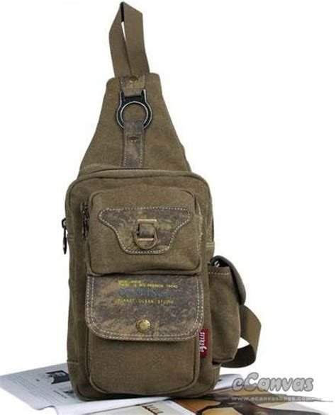 Fancyqube Canvas Chest Bag Kahki chest pack bag black army green khaki e canvasbags
