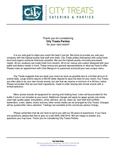 Catering Introduction Letter To A Company City Treats Introduction Letter