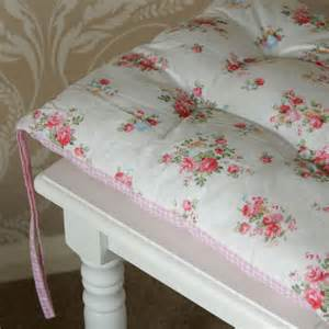 gingham pink rose vintage chic seat pad chair dining room cottage shabby cushion ebay