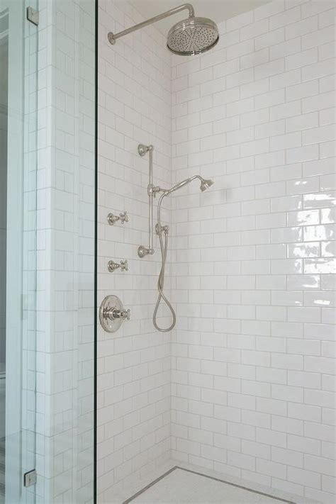 subway tile bathroom shower shower with white subway tiles and glass shower partition