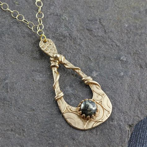 metal clay jewelry gold bronze and pyrite teardrop necklace unique metal