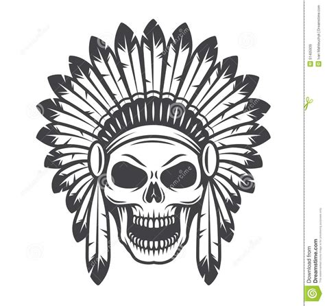 illustration of american indian skull stock vector image