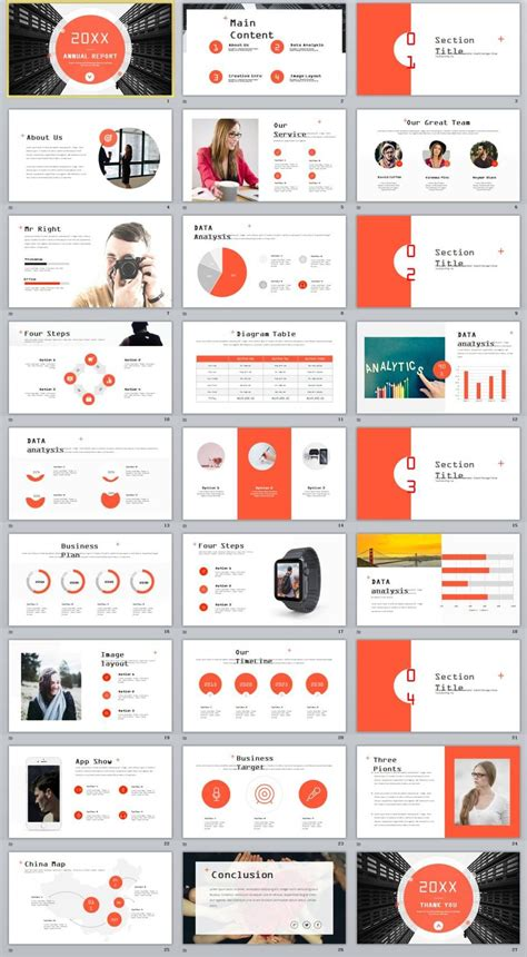 27 Red Company Annual Report Powerpoint Templates Business Company Profile Design Annual Report Powerpoint Template
