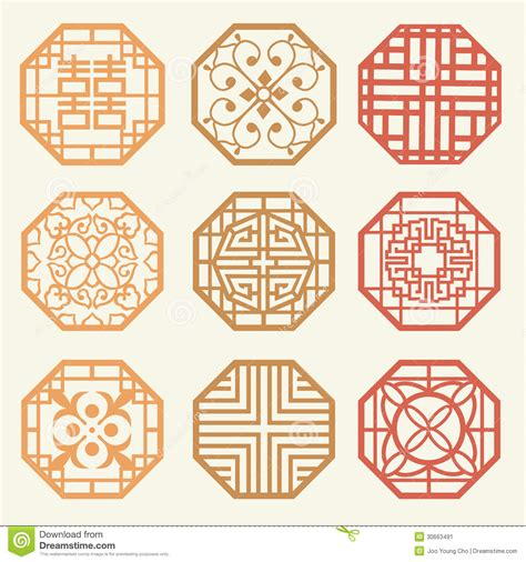 korean pattern vector free korean old of window frame symbol sets korean traditional