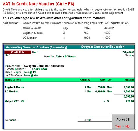 Credit Note Format In Tally Erp 9 Vat In Debit Note Credit Note In Tally9 Accounting Software