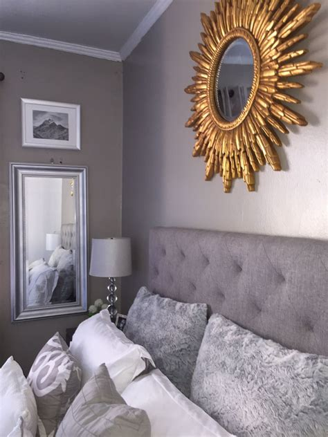 grey  gold bedroom decoration decor headboard sunburst