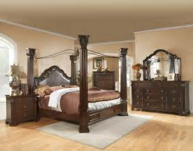 Bedroom Set With Canopy King Size Brown Cherry Canopy Bedroom Set Drawer Guides