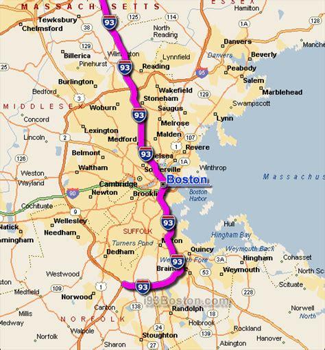 map of boston area i 93 boston traffic conditions