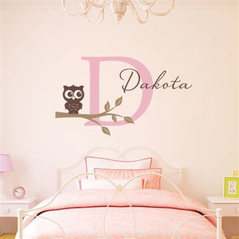 Nursery Wall Name Decals Owl Tree Branch Wall Decals Personalized Initial Name Wall Stickers For Nursery Home