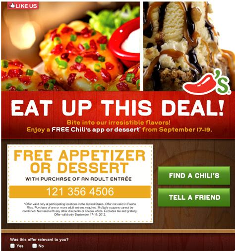 chilis printable coupon free appetizer chili s free appetizer or dessert printable coupon