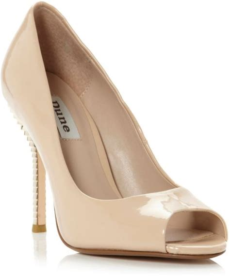 Dunes Perfume Peep Toe Heel by Dune Dray Tiered Heel Peep Toe Court Shoes In Beige
