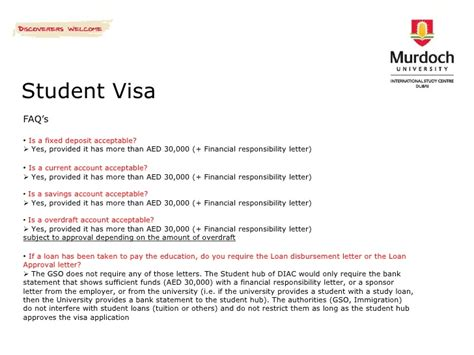 Financial Responsibility Letter Visa Murdoch International Study Centre Dubai