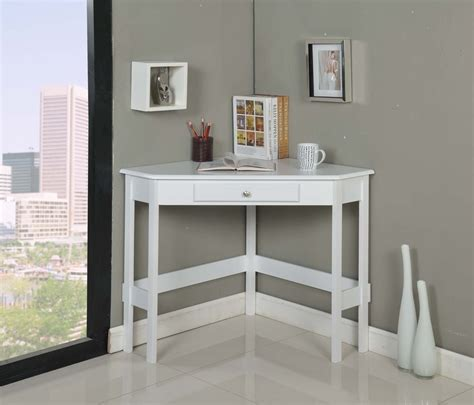 Modern White Painted Oak Wood Corner Desk With Storage White Painted Desk