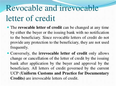 cancellation of irrevocable letter of credit different means of remittance