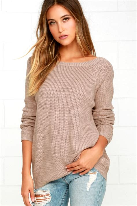 just for light brown light brown sweater knit top backless sweater v back