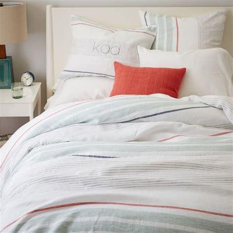 Where Can I Buy Duvet Covers Belgian Flax Linen Crisp Stripe Duvet Cover Shams West Elm