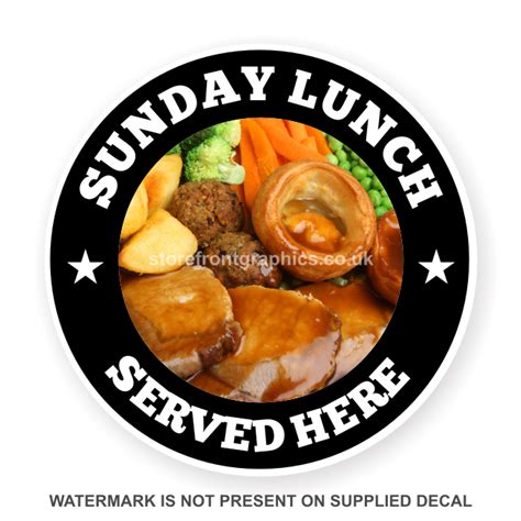 sunday lunch with for the sunday lunch catering advertising sticker for restaurant
