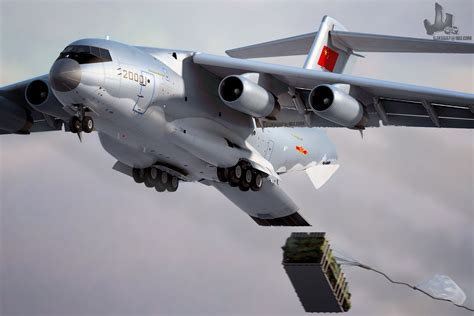 cgi  chinese   heavy military transport aircraft  action chinese military review