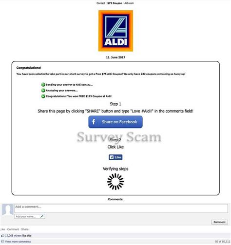 Facebook Free Gift Card Scams - get a free 75 aldi coupon facebook scam hoax slayer