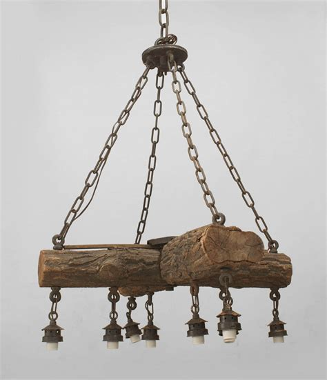 rustic chandeliers early 20th c american rustic log chandelier at 1stdibs