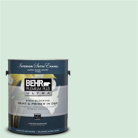 behr premium plus ultra 1 gal ppu10 9 jade satin enamel interior paint 775001 the