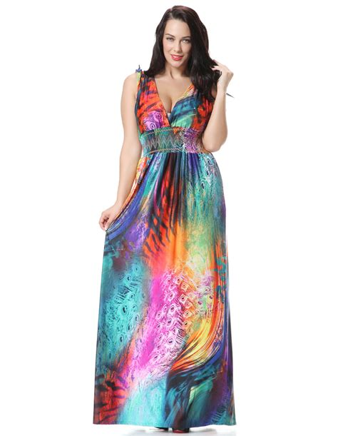 Dress Seven 2016 summer dress plus size 7xl printed maxi dress elbise robe ete jurk