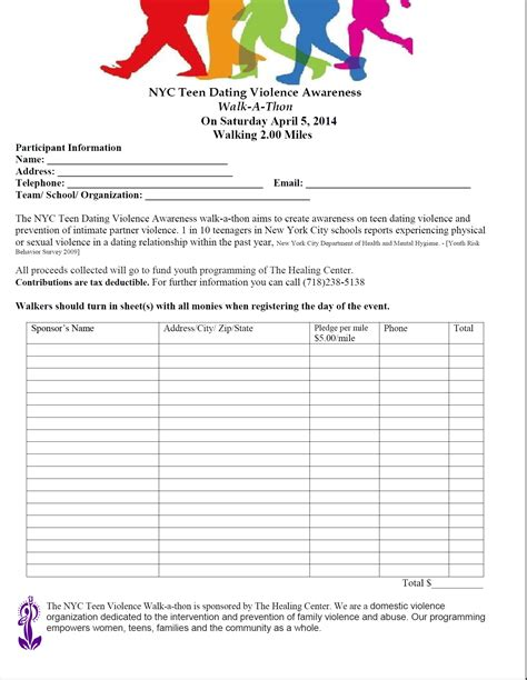 updated walk a thon pledge form pto today