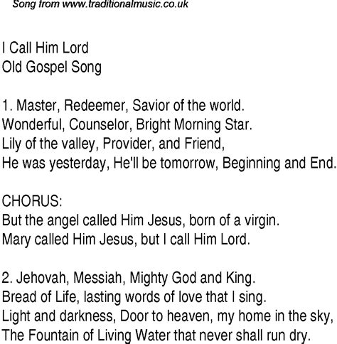 song for him i call him lord christian gospel song lyrics and chords