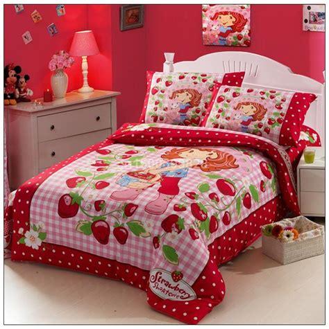 Strawberry Shortcake Bed Set Strawberry Shortcake 100 Cotton Printing Bedding Baby Kid Children Duvet Cover Set Bed Linen