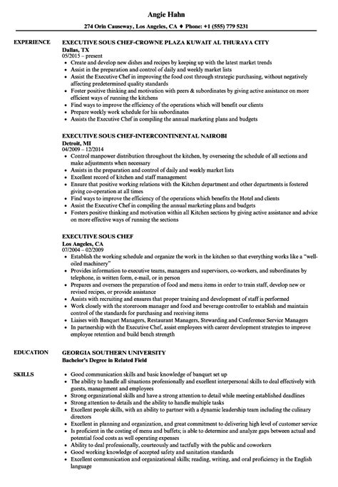 Sous Chef Resume by Executive Sous Chef Resume Sles Velvet