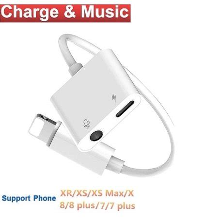 iphone x adapter splitter 2 in 1 aux headphone audio charge cable adapter lightning